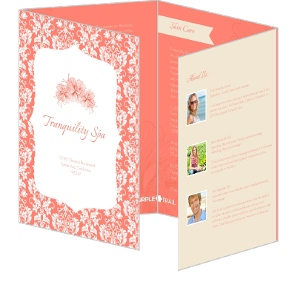 Coral and Cream Floral Spa Brochure