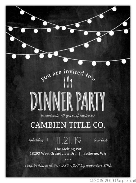 Modern Chalkboard Lights Business Party Invitation Business