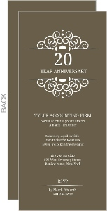 Brown White Monogram Frame Anniversary Invitation
