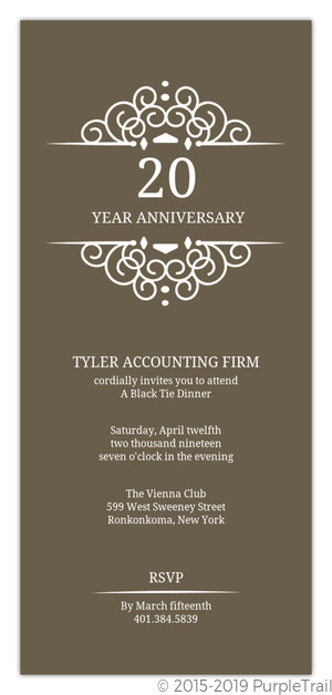 Brown White Monogram Frame Anniversary Invitation