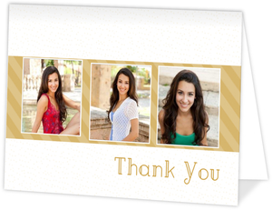 Gold Stripes Graduation Thank You Card