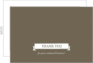 Brown And White Banner Thank You Card