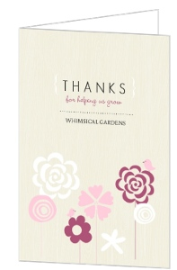 Pink Whimsical Flowers Thank You Card