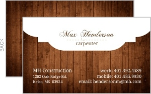 White Crested Wooden Business Card
