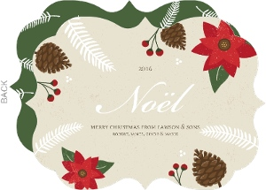Festive Pinecone and Poinsettia Frame Noel Business Christmas Card
