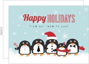 Cute Blue Outdoor Penguins Christmas Cards