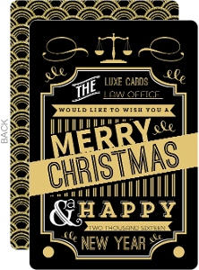 Gold Typographic Art Deco Business Holiday Card