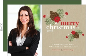 Rustic Brown Pine Cone Business Christmas Card