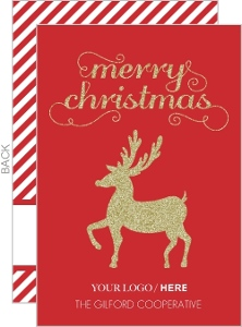 Fancy Faux Glitter Reindeer Business Christmas Card