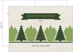 Rustic Green Festive Tree Business Christmas Card