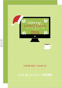 Green Computer Business Christmas Card