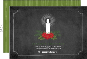 Candle and Poinsettia Business Holiday Card