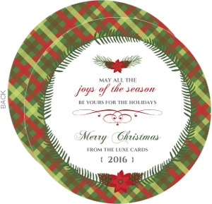 Green Gingham Pattern Circle Business Christmas Card