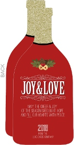 Joy & Love Elegant Red and Gold Glitter Bottle Business Holiday Card