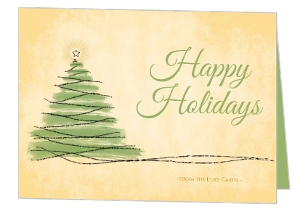 Artistic Parchment Brush Stroke Tree Business Holiday Card