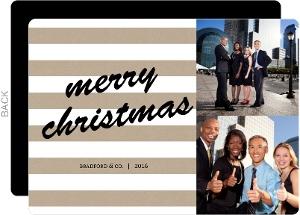 Kraft White Stripes Business Christmas Card
