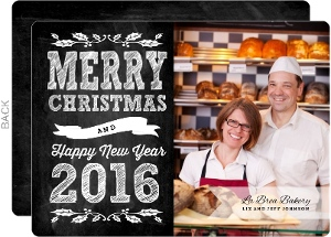 Chalkboard Bakery Business Christmas Card