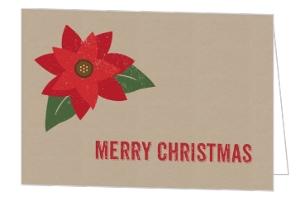 Simple Krafty Poinsettia Folded Christmas Card