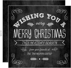Modern Festive Typographic Chalkboard Business Holiday Card
