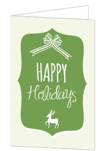 Modern Green Frame Striped Bow and Deer Business Christmas Card