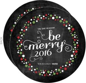 Chalkboard Festive Wreath Business Christmas Card