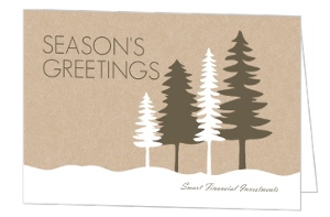 Rustic Pine Trees Business Christmas Card