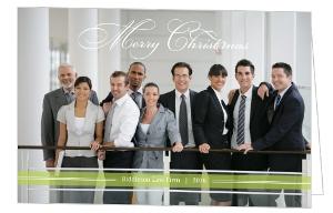 Simple Green Bar Business Christmas Card