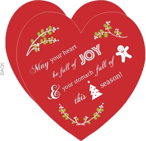 Red Heart Cookies Business Christmas Card