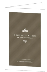 Brown and White Whimical Bow Congrats Card