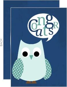 Whimsical Blue Owl Congratulations Card