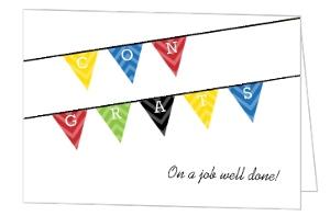 Colorful Chevron Bunting Congratulations Card