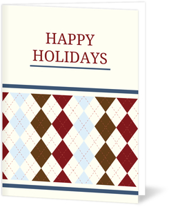 Argyle Patterned Business Holiday Greeting Card