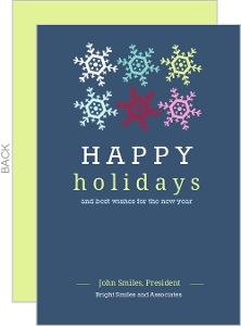 Happy Holidays Snowflakes Business Greeting Cards
