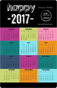 Modern Bold Holiday Card Calendar