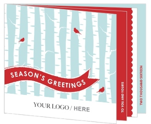Red Birds and Birch Trees Business Holiday Card