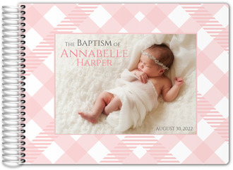 Sweet Gingham Christening Guest Book