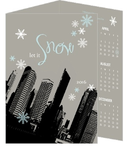 Gray Let it Snow Cityscape Business Holiday Card