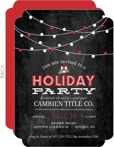 Chalkboard Stringing Lights Business Holiday Party Invitation