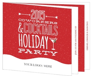 Modern Red Festive Snow Business Holiday Party Invitation
