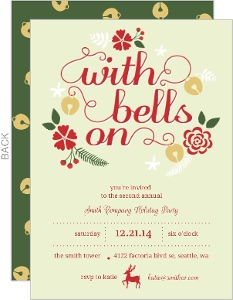 Red With Bells Office Holiday Party Invite