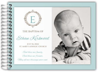Photo Monogram Initial Christening Guest Book