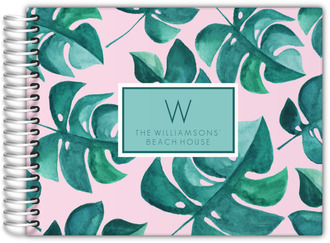 Watercolor Tropical Leaves Vacation Home Guest Book