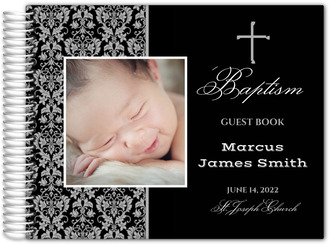 Photo Damask Pattern Christening Guest Book