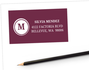 Plum Monogram Swirl Quinceanera  Address Label