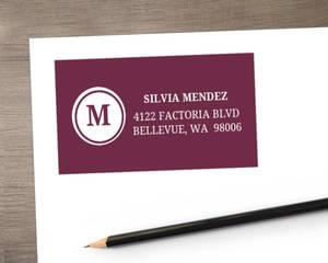 Plum Monogram Swirl Quinceanera  Address Label