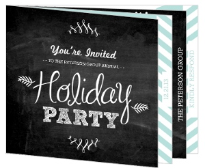 Chalkboard Flourish Blue and White Booklet Business Holiday Party Invitation