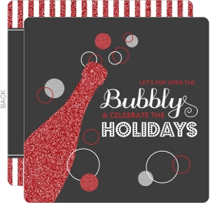 Red Silver Bubbly Champagne Business Holiday Party Invitation