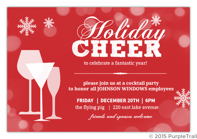 Holiday Cheer Red Twinkle Snowflake Business Holiday Party ...