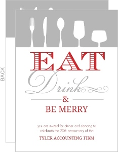 Festive Red Eat Drink Be Merry Holiday Party Invite