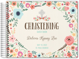 Cute and Colorful Floral Christening Guest Book